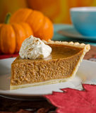 Pumpkin Pie. A delicious slice of fresh pumpkin pie with whipped cream Royalty Free Stock Photos