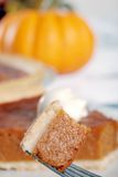 Pumpkin pie on a fork Royalty Free Stock Photos