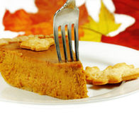 Pumpkin Pie with a Fork Stock Photo
