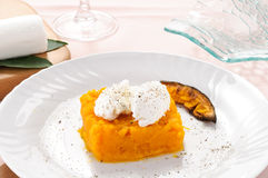 Pumpkin pie with fresh cheese Stock Image