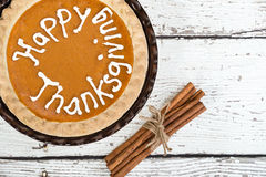 Pumpkin pie with Happy Thanksgiving text Royalty Free Stock Photos