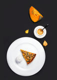 Pumpkin Pie. Homemade Delicious Piece of Pumpkin Pie made for Th Stock Photography