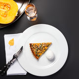 Pumpkin Pie. Homemade Delicious Piece of Pumpkin Pie made for Th Royalty Free Stock Photography