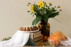 Pumpkin pie with icing, autumn mood. Rustic style, choose a focus. Horizontal royalty free stock photography