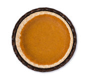 Pumpkin pie isolated on white. Top view Stock Photos