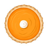 Pumpkin pie isolated on white. Vector illustration. Stock Images
