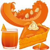 Pumpkin pie and juice Stock Photos
