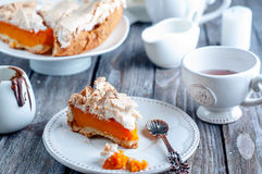 Pumpkin pie with meringue Stock Images