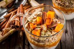 Pumpkin pie overnight oatmeal Royalty Free Stock Photography