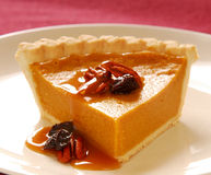 Pumpkin pie with pecans Royalty Free Stock Images