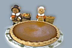 Pumpkin Pie with Pilgrim Bears Stock Photo