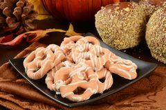 Pumpkin pie pretzels and caramel apples Royalty Free Stock Photo