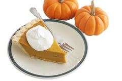 Pumpkin Pie Slice with Clipping Path Stock Photography