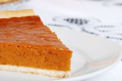 Pumpkin pie slice closeup Royalty Free Stock Photography