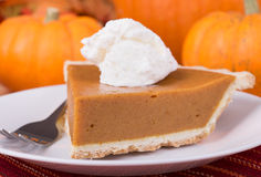 Pumpkin Pie Slice Closeup Stock Photography