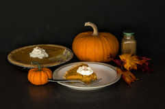 Pumpkin pie still life Stock Images