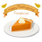 Pumpkin pie, tart, pasty, gateau, cake piece with whipped cream Stock Photo