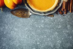 Pumpkin pie. Thanksgiving Day food concept Stock Image