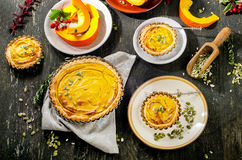 Pumpkin Pie for Thanksgiving  on a wooden rustic table. Stock Photos