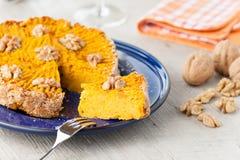 Pumpkin pie with walnuts, sliced Royalty Free Stock Photo