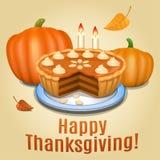 Pumpkin pie with white creme and orange pumpkin, pumpkin pie Stock Photos