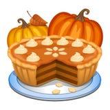 Pumpkin pie with white creme and orange pumpkin Royalty Free Stock Image