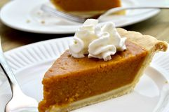 Pumpkin pie on a white plate stock photo