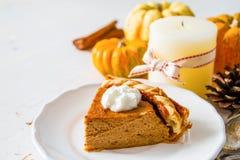 Pumpkin pie, white wood background. Pumpkin pie and decorations, white wood background, closeup Royalty Free Stock Image