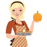 Pumpkin pie woman Stock Photos