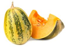 pumpkin with piece of pumpkin isolated on white background stock photo