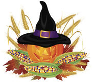 Pumpkin with Pilgrim Hat Illustration Royalty Free Stock Photo