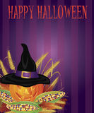 Pumpkin Pilgrim Hat Stripes Background Royalty Free Stock Photography