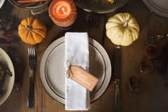 Pumpkin Plate Candle Thanksgiving Table Setting Concept Stock Photo