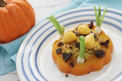 Pumpkin plated meal Stock Image