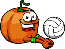 Pumpkin playing volleyball Stock Photography