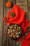 Pumpkin pomegranate dried cranberry goat cheese quinoa salad royalty free stock images