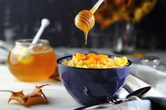 Pumpkin porridge with honey Royalty Free Stock Images
