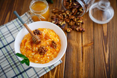 Pumpkin porridge with honey and nuts Stock Photo