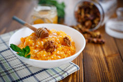 Pumpkin porridge with honey and nuts Stock Photography