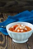 Pumpkin porridge topped with feta cheese Stock Photo