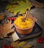 Pumpkin porridge in wooden background Stock Images