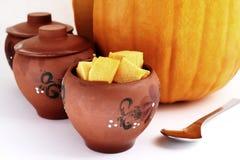 Pumpkin in the pot Stock Image