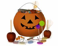 Pumpkin pot. With apples, candy and gum Stock Images