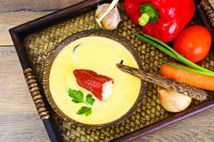 Pumpkin-Potato Puree Cream Soup with Roasted Bell Pepper and Goa Royalty Free Stock Photography