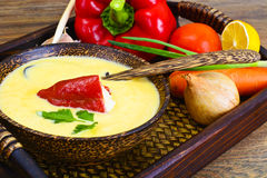 Pumpkin-Potato Puree Cream Soup with Roasted Bell Pepper and Goa Royalty Free Stock Images
