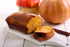 Pumpkin pound cake. On board, selective focus royalty free stock photo