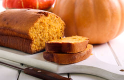 Pumpkin pound cake. On board, selective focus Stock Photo