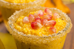 Pumpkin pudding with tapioca pearls Stock Image