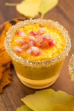 Pumpkin pudding with tapioca pearls Royalty Free Stock Images