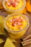 Pumpkin pudding with tapioca pearls Stock Images